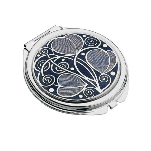 Compact Mirror Silver Plated Mackintosh Leave Handbag Magnifying Travel Cosmetic